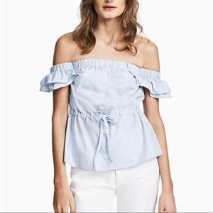 Blue Cotton Off Shoulder Button Peplum Blouse